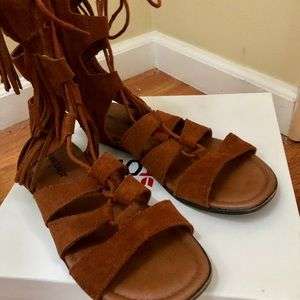 Minnetonka Lace up Suede Sandals